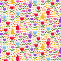 Floral decorative doodle seamless vector pattern