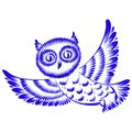 Floral decorative ornament owl hand drawn illustration in ukrainian folk style Royalty Free Stock Images