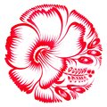 Floral decorative ornament red hibiscus hand drawn illustration in ukrainian folk style Stock Photography