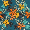 Seamless vector pattern with decorative flowers and leaves