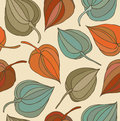 Floral decorative seamless pattern cute background with flowers hand drawn fabric texture winter cherry Stock Photos