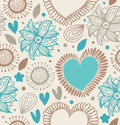 Floral decorative seamless pattern. Doodle background with hearts and flowers