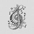 Floral Decorative Treble Clef.