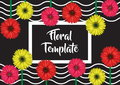 Floral design decoration template with gerbera flowers Royalty Free Stock Photo