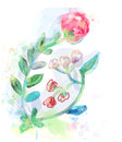 Floral design element for card or inviration with rose Stock Photos