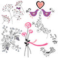 Floral design elements and birds Stock Image