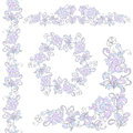 Floral design elements set. Isolated on white background. Royalty Free Stock Photo