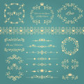 Floral design elements set with ornamental vintage frames with crowns and hearts page decoration isolated on blue vector Royalty Free Stock Photo