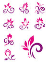 Floral design elements. Vector flower icons Royalty Free Stock Photo