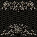 Floral design on lace fabric in black and white, vector frame