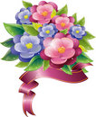 Floral design with violet and ribbon Royalty Free Stock Photo