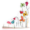 Floral doodle abstract colorful flowers vector background Royalty Free Stock Photo