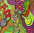 Floral doodle colorful vector abstract flowers on fancy background Stock Image