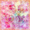 Floral doodle watercolor sparkle background Stock Photography