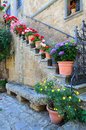 Floral doorway civita lazio italy a to an ancient home in flowers Stock Photos