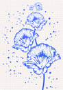 Floral drawing on a squared school notepad paper Royalty Free Stock Photos