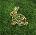 The floral easter rabbit on grass Stock Photography