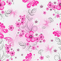 Floral effortless spring pattern with gradient cherry flowers and butterflies Royalty Free Stock Photo