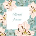 Vintage vector frame with summer spring flowers in pastel colors. Royalty Free Stock Photo