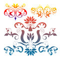 Floral elements decorative shape with colors Stock Photography
