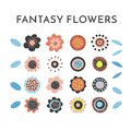 Floral elements set. Flower head, petals, leaves and branches. Fantasy folk hand drawn design elements. Colorful flat Royalty Free Stock Photo