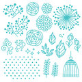 Floral elements set with flowers leaves dots and cage Royalty Free Stock Photography