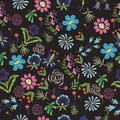Floral embroidery on a black background Royalty Free Stock Photo