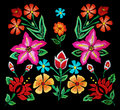 Floral embroidery on black traditional background Royalty Free Stock Photo