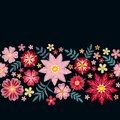 Floral embroidery. Horizontal seamless line with beautiful flowers on black background. Template for greeting and invitations card