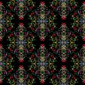 Floral embroidery seamless pattern. Tapestry damask background.