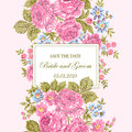 Floral embroidery wedding invitation.