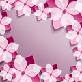 Floral festive frame with pink 3d flowers sakura Royalty Free Stock Photo