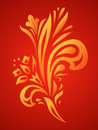 Floral flame curved ornament Royalty Free Stock Image