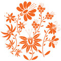 Floral folk pattern in circle containing set of orange- red color  flowers Royalty Free Stock Photo