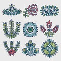 Floral folkloric elements vector illustration Royalty Free Stock Photography