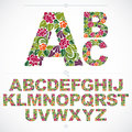 Floral font, hand-drawn vector capital alphabet letters decorate