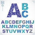 Floral font, hand-drawn vector capital alphabet letters decorate Royalty Free Stock Photo
