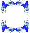 Floral frame with butterflies in blue isolated Royalty Free Stock Photo
