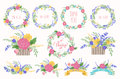 Floral Frame Collection. Wedding set flowers, wreaths, ribbons.