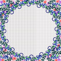 Floral frame. Colorful hand drawn flowers and leaves arranged in a shape of the circle. Vector design.