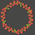 Floral frame decorative with red flowers Stock Images