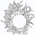 Floral frame. Ethnic retro design Royalty Free Stock Photo