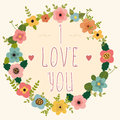 Floral frame - I love you. Happy Valentine's day card. Royalty Free Stock Photo