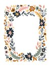 Vector floral frame isolated on the white background. Cute flat floral wreath perfect for wedding invitations and birthday cards.