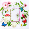 Floral frame with ivy, hibiscus and hydrangea flowers.  Top view Royalty Free Stock Photo