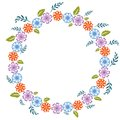Floral frame multicolored in decorative style Royalty Free Stock Photos