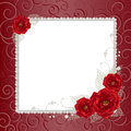 Floral frame with pearls