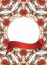 Floral frame with red banner Stock Images