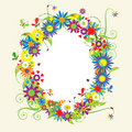 Floral frame, summer illustration Royalty Free Stock Photo