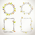 Floral frames with autumn colors decorative light twigs and leaves Royalty Free Stock Photo